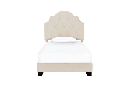 Twin  Saddle Back Upholstered Bed-Cream - Main