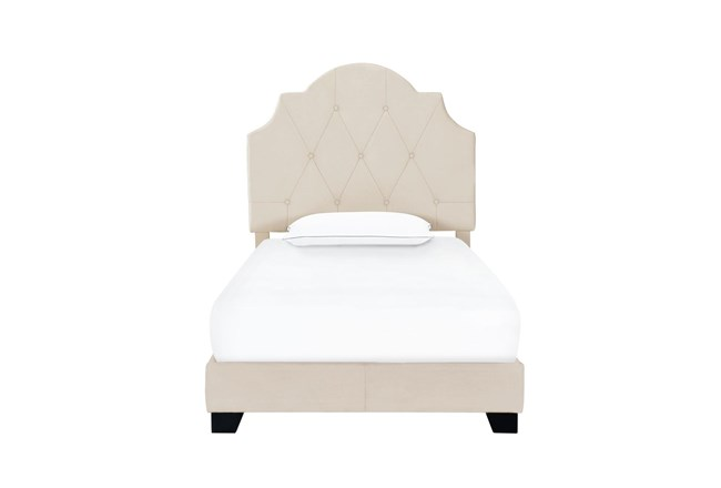 Twin Cream Button Diamon Tufted Saddle Back Upholstered Bed - 360