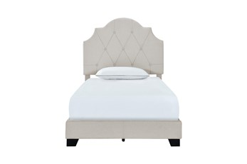 Twin Saddle Back Upholstered Bed-Grey