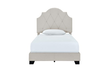 Twin Saddle Back Upholstered Bed-Grey - Main