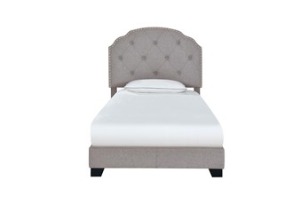 Twin Smoke Grey Button Diamond Tufted Upholstered Bed With Nailhead Trim