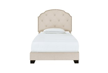 Twin Cream Button Diamond Tufted Upholstered Bed With Nailhead Trim