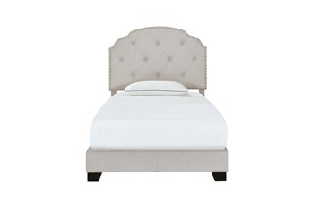 Twin Grey Button Diamond Tufted Upholstered Bed With Nailhead Trim