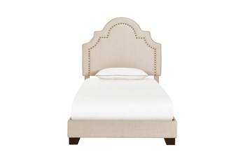 Twin Cream Nailhead Border Shaped Back Upholstered Bed