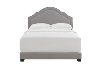 Full Shaped Back Upholsterd Bed-Smoke Grey