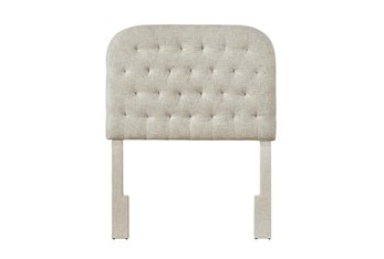 Twin Linen Rounded Diamond Tufted Upholstered Headboard