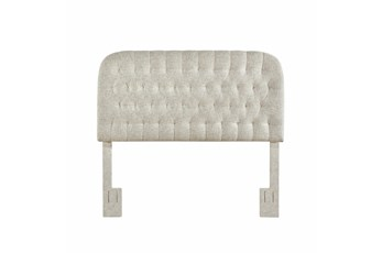 Linen King/Cal King Round Tufted Upholstered Headboard