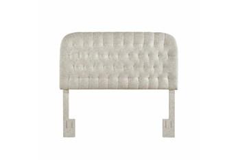 King/Cal King Linen Rounded Diamond Tufted Upholstered Headboard