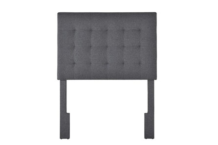 Charcoal Twin Tufted Grid Upholstered Headboard - Main