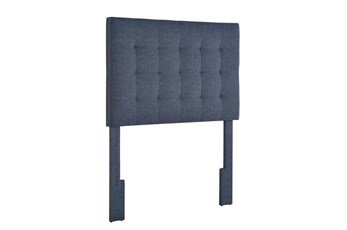 Denim Twin Tufted Grid Upholstered Headboard