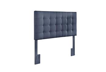 Full/Queen Denim Box Tufted Upholstered Headboard
