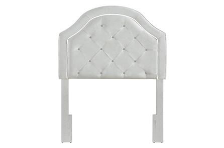 Grey Twin Welt Trim Upholstered Headboard - Main