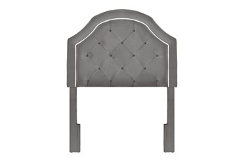 Charcoal Twin Welt Trim Upholstered Headboard