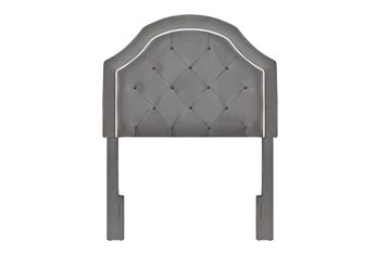 Twin Charcoal Contrast Welt Trim Banded Border Tufted Upholstered Headboard