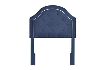 Navy Twin Welt Trim Upholstered Headboard