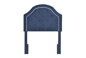 Twin Navy Contrast Welt Trim Banded Border Tufted Upholstered Headboard