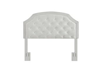 Full/Queen Grey Contrast Welt Trim Banded Border Tufted Upholstered Headboard