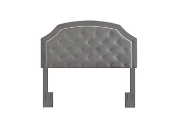 Full/Queen Charcoal Contrast Welt Trim Banded Border Tufted Upholstered Headboard