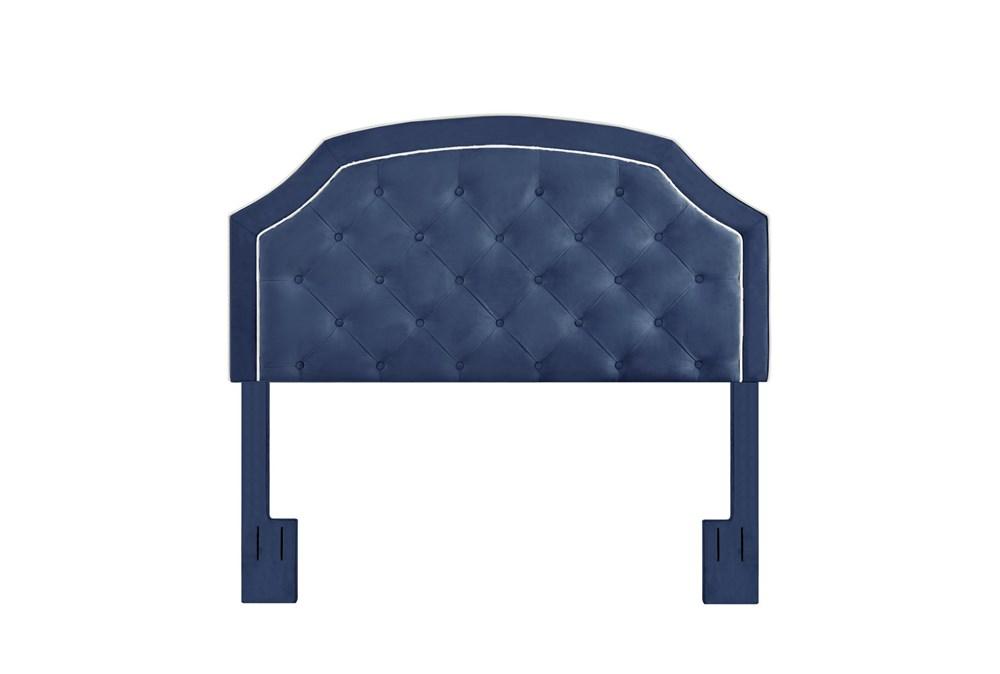Navy Full/Queen Welt Trim Upholstered Headboard