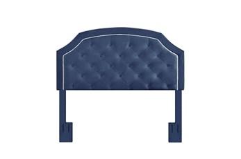 Full/Queen Navy Contrast Welt Trim Banded Border Tufted Upholstered Headboard