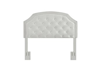 Eastern King/Cal King Grey Contrast Welt Trim Banded Border Tufted Upholstered Headboard