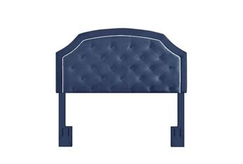Eastern King/Cal King Navy Contrast Welt Trim Banded Border Tufted Upholstered Headboard