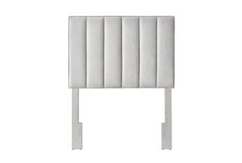 Twin Grey Velvet Vertical Channel Upholstered Headboard