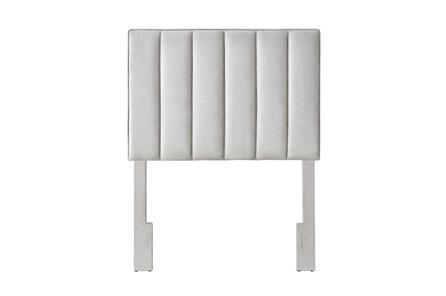 Grey Twin Velvet Channel Upholstered Headboard - Main