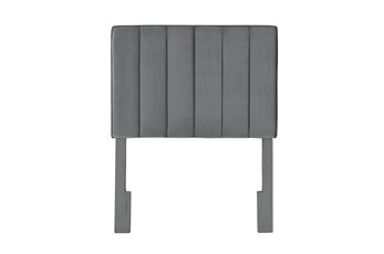 Charcoal Twin Velvet Channel Upholstered Headboard