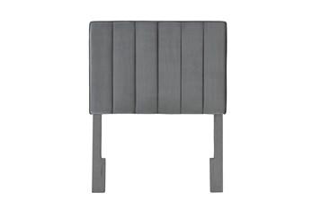 Twin Charcoal Velvet Vertical Channel Upholstered Headboard