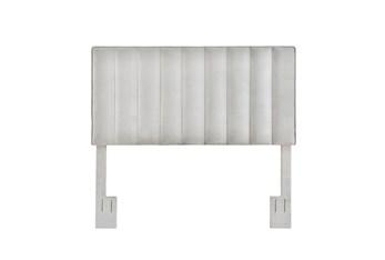 Full/Queen Grey Velvet Vertical Channel Upholstered Headboard