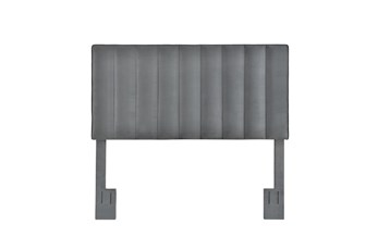 Full/Queen Charcoal Velvet Vertical Channel Upholstered Headboard