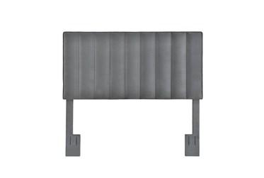 Full/Queen Charcoal Velvet Vertical Channel Upholstered Headboard