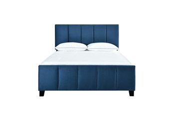 Queen Vertical Channel Velvet Upholstered Bed-Navy