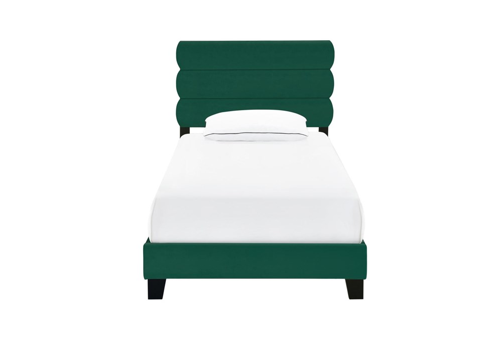 Twin Emerald Velvet Horizontal Channel Upholstered Bed