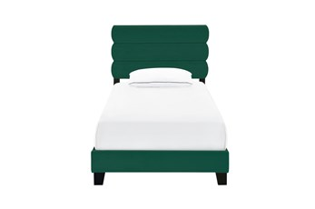 Twin Velvet Channel Upholstered Bed-Emerald