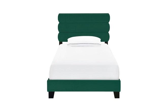 Twin Emerald Velvet Horizontal Channel Upholstered Bed - 360