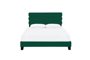Queen Emerald Velvet Horizontal Channel Upholstered Bed