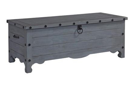 Grey Wash Nailhead Storage Trunk - Main