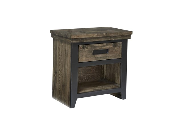 Rustic Brown Chairside Table  - 360