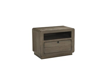 Brown Shutter Drawer Chairside Table