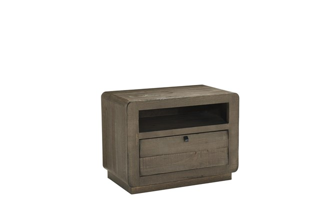 Brown Shutter Drawer Chairside Table  - 360