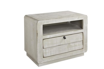 White Wash Shutter Drawer Chairside Table