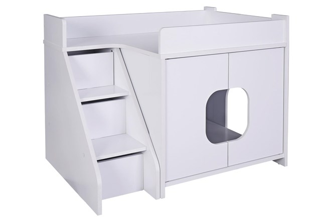 White Wash Pet House With Stairs  - 360