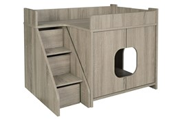 Grey Wash Pet House With Stairs