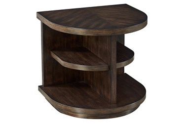 Chocolate Curved Multi Shelf Chairside Table