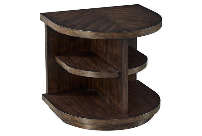 Chocolate Curved Multi Shelf Chairside Table  - 360