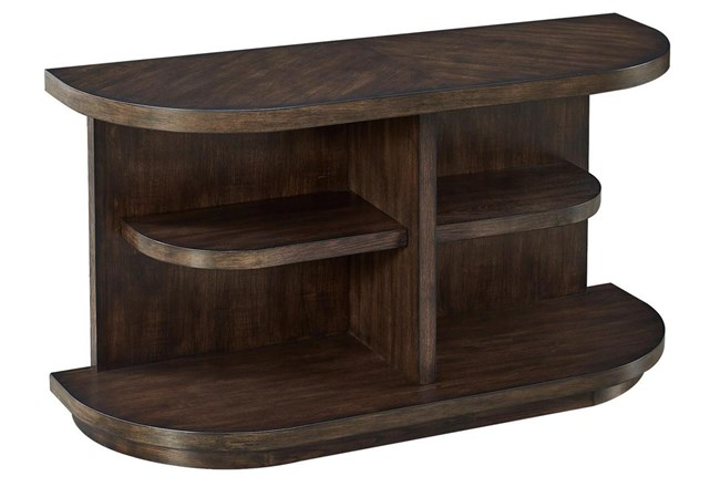 Chocolate Curved Multi Shelf Console Table  - 360