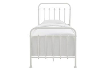 White Farmhouse Twin Metal Bed