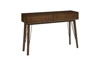Mid Century Two Drawer Accent Storage Console Table